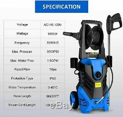 3000PSI 1.8GPM Electric Pressure Washer High Power Cold Water Cleaner Machine