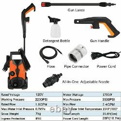 3500PSI 2.4GPM Electric Pressure Washer High Power Portable Cleaner Sprayer Kit