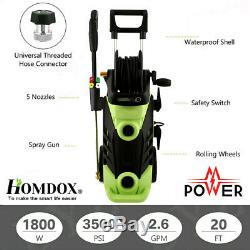 3500PSI 2.6GPM Electric Pressure Washer High Power Water Cleaner Machine 1800W