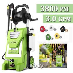 3800PSI 3.0GPM Electric Pressure Washer High Power Washer Car House Washer-Green