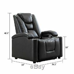 High End Power Leather Recliner Chair with Adjustable Headrest Cup Holder USB Port