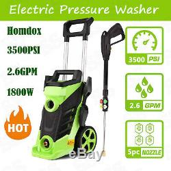 Homdox 3500 PSI Electric Pressure Washer 2.6 GPM High Power 1800W 4Nozzles Green