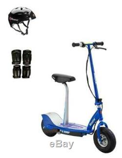 Razor E300S Adult High-Torque Electric Power Scooter withSeat, Helmet & Pads, Blue